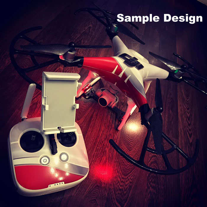Spitfire Shark Teeth DJI Phantom 4 Pro Skin Wrap Decal Sticker Battery Body U...