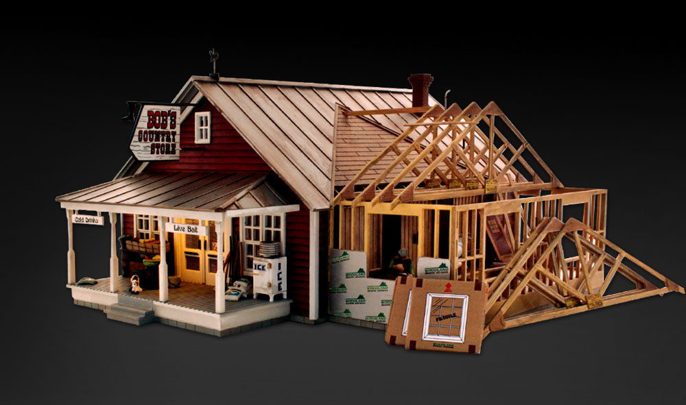 ✅WOODLAND SCENICS BUILT /& READY BOB'S COUNTRY STORE EXPANSION BUILDING ACCESSORY