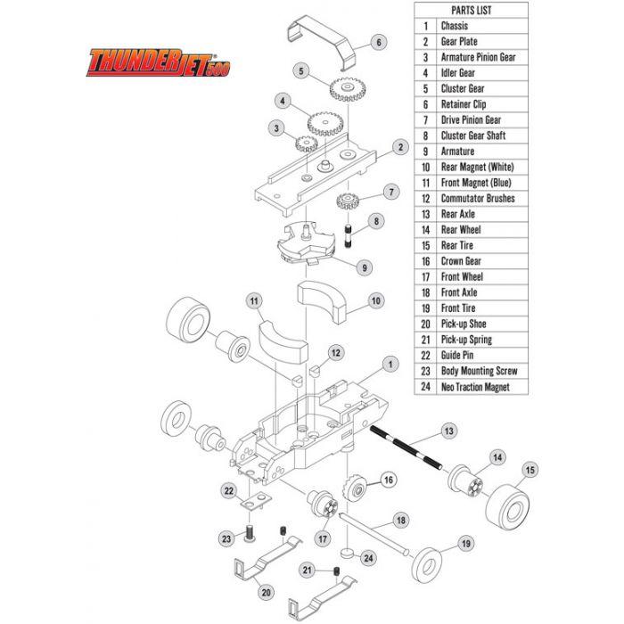 Auto World Thunderjet Chassis Tjet Parts Front Wheels HO Slot Car
