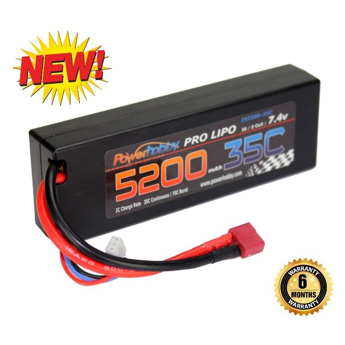 Powerhobby 2s 7.4v 5200mah 35c Lipo Battery w Deans Plug 2-Cell