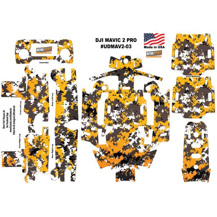 Yellow Camouflage DJI Mavic Pro Skin Wrap Decal Sticker Battery Body Ultradecal