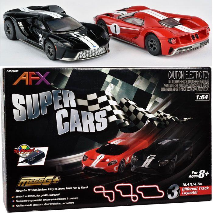 Afx Ford Gt 22005 Super Cars Mega G Tri Power Ho Slot Car Track Set