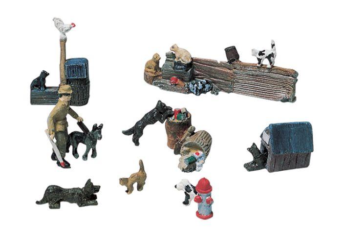 Woodland Scenics D226 HO Train Figures Cats & Dogs