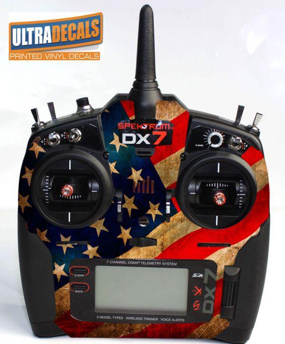 Spektrum DX6 DX7 DX8 Gen 2 Transmitter Radio Skin Wrap Decal American USA  Flag