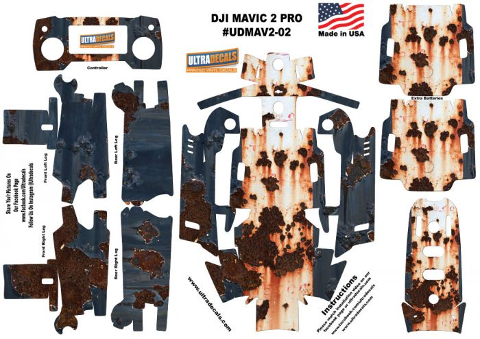 1873576eff6 DJI Mavic 2 Pro Zoom Skin Wrap Decal Sticker Rusted Paint Battery Body  Ultradecals