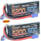 ArrowRC 4S 14.8V 5200mAh 50C Lipo Battery Soft Case 4-Cell w EC5 Plug (2 pack)
