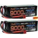 PowerHobby 3S 11.1V 9000mAh 75C Lipo Battery Pack w Deans Plug (2 Pack)