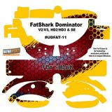 FatShark Dominator V2 V3 HD2 HD3 Skin Wrap Decal Fat Shark Red Yellow Honeycomb