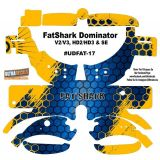 FatShark Dominator V2 V3 HD2 HD3 Skin Wrap Decal Fat Shark Blue Yellow Honeycomb