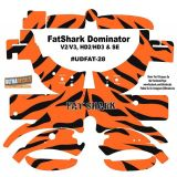 FatShark Dominator V2 V3 HD2 HD3 Skin Wrap Decal Fat Shark Orange Black Stripes