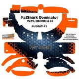 FatShark Dominator V2 V3 HD2 HD3 Skin Wrap Decal Fat Shark orange Grey Honeycomb