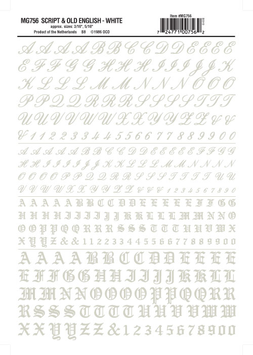 "Woodland Scenics MG755 Script//Old Eng Ltr//Num Blk 3//16,5//16/""Train Decal Sheet"