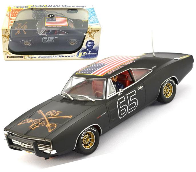 Pioneer Matt Black 1969 Dodge Charger General Lee Dukes of Hazzard Slot Car 1//32